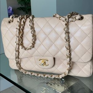 Chanel Jumbo flap bag nude caviar leather